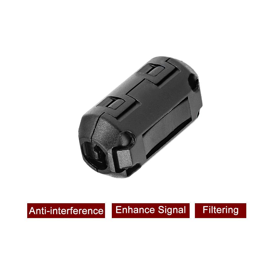 sourcing map Ferrite Noyaux Anneau /à Pince RFI EMI Suppression Bruit Filtre C/âble Pince 10Pcs Gris 3,5mm