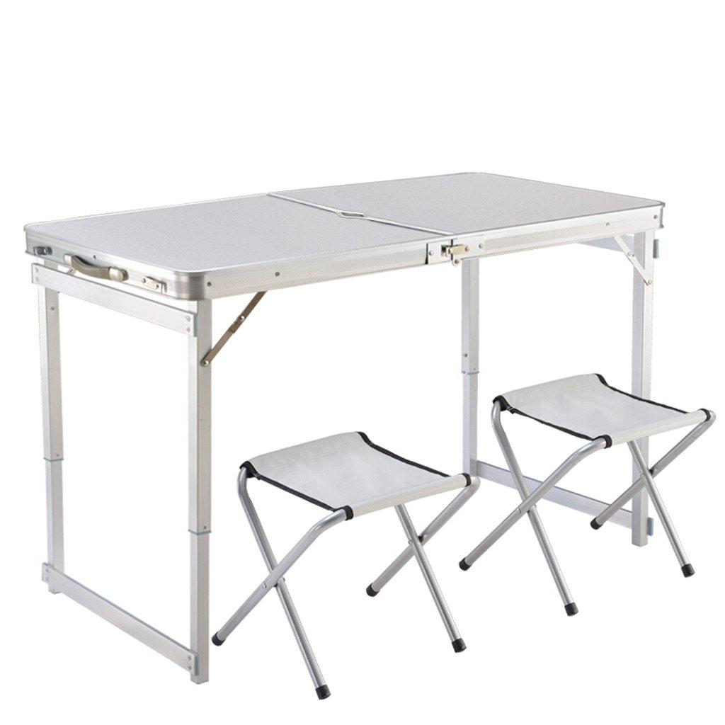 TMY Portable Tisch höhenverstellbare Outdoor Klapptisch Aluminiumlegierung für Beach Grill Park Camping mit 2 Tuch Klappstühle (Farbe : Weiß)