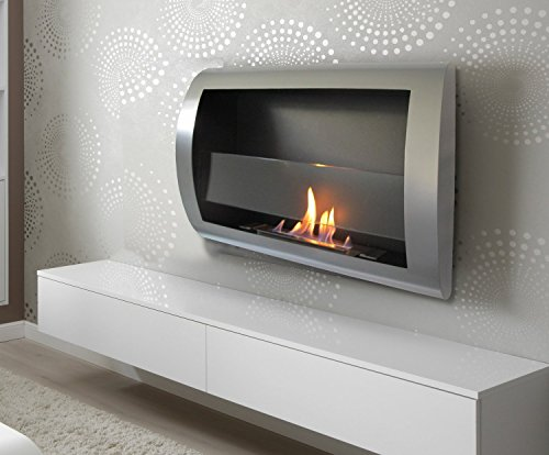 Cheap Chic Fireplaces Charleston Wall Mount Ventless Bio Ethanol Fireplace with Burner Insert Grey Metal Black Friday & Cyber Monday 2019