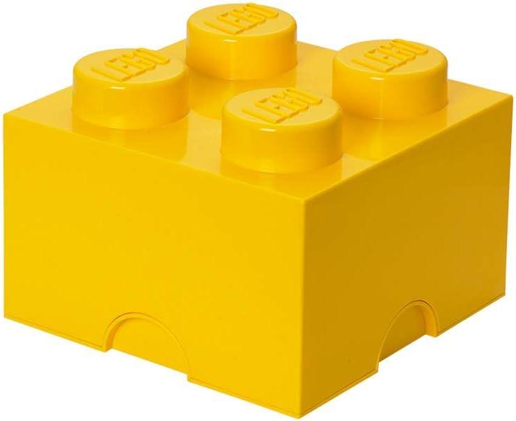 Room Copenhagen 4003 Ladrillo de Almacenamiento de 4 espigas de Lego, Caja de almacenaje apilable, 5,7 l, Amarillo, Bright Yellow