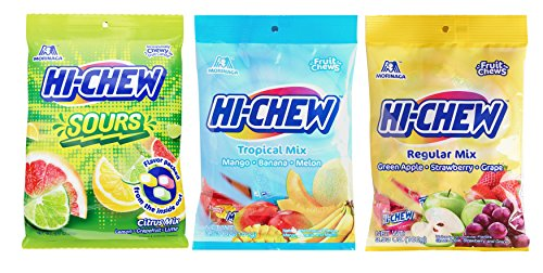 Japanese Morinaga Hi Chew Sours Citrus, Tropical, and Original Mix 3 Packs (Tropical Sours)