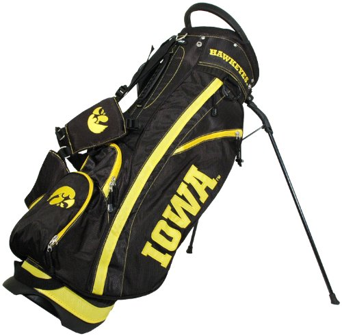 Iowa Ncaa Hawkeyes (Team Golf NCAA Iowa Hawkeyes Fairway Golf Stand Bag, Lightweight, 14-way Top, Spring Action Stand, Insulated Cooler Pocket, Padded Strap, Umbrella Holder & Removable Rain Hood)