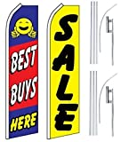 Car Auto Dealer Swooper Flutter Feather Flags & Poles 2 Pack-Best Buys-SALE