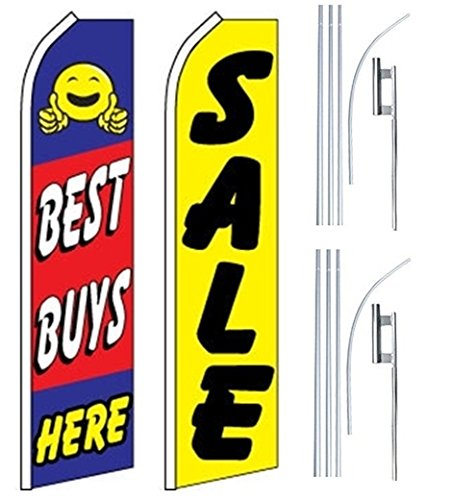 Car Auto Dealer Swooper Flutter Feather Flags & Poles 2 Pack-Best Buys-SALE by Mission Flags