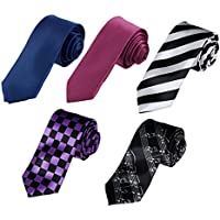 Dan Smith Men's Fashion Multicolors Polyester Thin Tie - 5 Styles Available With Free Gift Box