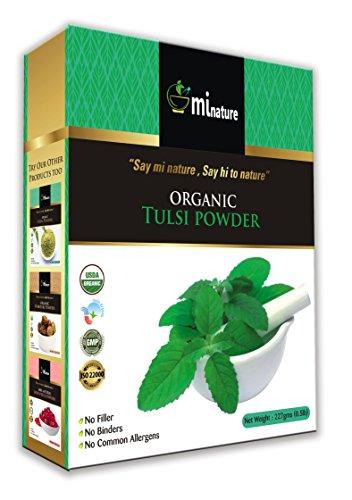 USDA Certified Organic Tulsi Leaves Powder (Ocimum Sanctum) by mi nature - 227 g/8 OZ/1/2 lb | USDA NOP Certified 100% Organic | Vegan | Non ()
