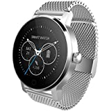 """SMA 09-3 Smart Watch Fitness Tracker,Wristwatch 1.22"""" IPS Full View Touch Screen Bluetooth Heart Rate Monitor Smartwatch for iPhone 5 5s 6 6s 6plus 7 7s 7plus 8 and Android Phone for Men Silver"""
