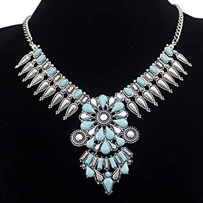 RechicGu Vintage Silver Indian Squash Blossom Turquoise Resin Stone Zuni Navajo Necklace