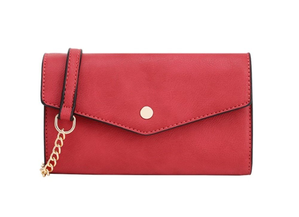 DELUXITY Women's Envelope Clutch Crossbody Wallet (Red)