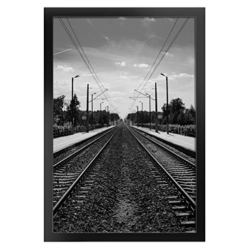 ONE WALL Tempered Glass 12x18 Poster Frame, Black Wood