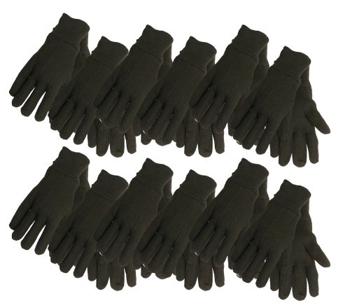(Cotton Jersey Work Gloves , 7792P12, Size: Large, Brown, 12-Pack )