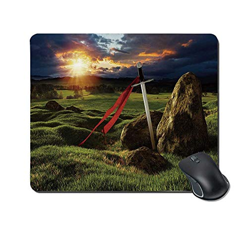 - King Durable Mouse Pad,Arthur Camelot Legend Myth in England Ireland Fields Invincible Sword Image for Office Home,9.4