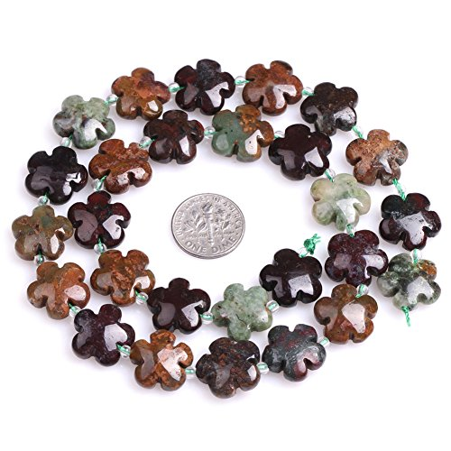 Ocean Agate Beads for Jewelry Making Natural Semi Precious Gemstone 15mm Flower Shape Strand 15