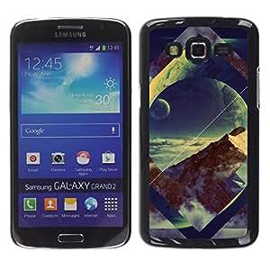 Caucho caso de Shell duro de la cubierta de accesorios de protección BY RAYDREAMMM - Samsung Galaxy Grand 2 - Geometría Space Mountain