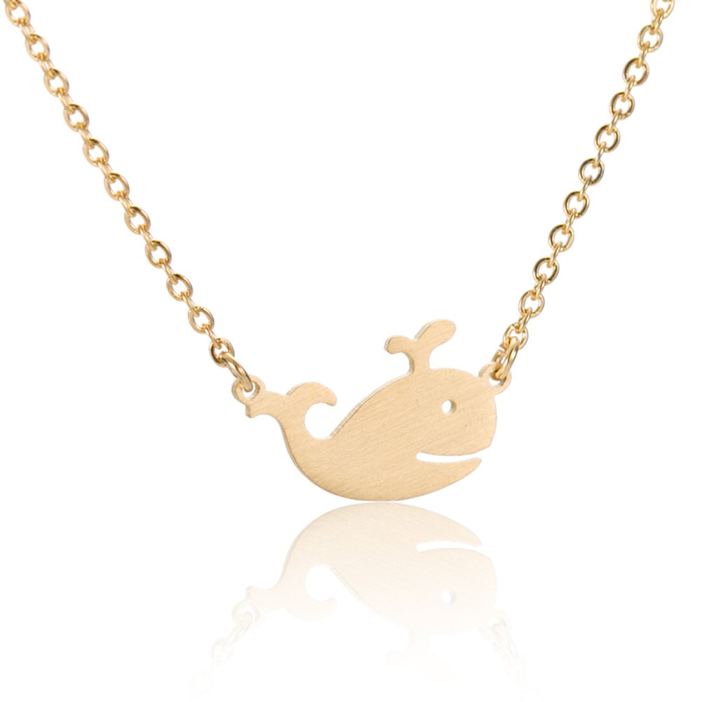 Whale Necklace Dainty Pendant Jewelry - 18k Gold Plated Necklace 16''
