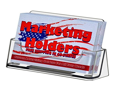 Marketing Holders Business Card Holder Desktop or Countertop Clear Acrylic Holds 50 Business Cards Lot of 100 by Marketing Holders