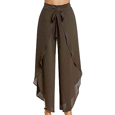 Mujer Pierna Ancha Informales Fashion Pantalones Yoga Pantalones De Tiempo Ropa de Fiesta Libre Elegantes Baggy Cómodo Abiertas Chiffon Pantalones Palazzo Pantalones Verano Unicolor: Ropa y accesorios
