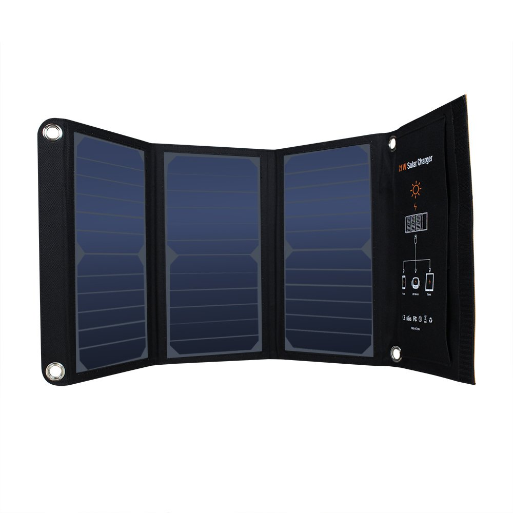 Portable Dual USB Solar charger 21W Waterproof SunPower Solar Panels Foldable Power Bank for Cell Phone,Ipad, Tablet and Outdoor Camping Travel,23% High Efficient,PVC Clothing