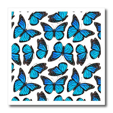 3dRose ht_214548_3 Blue Monarch Butterflies Iron on Heat Transfer for White Material, 10