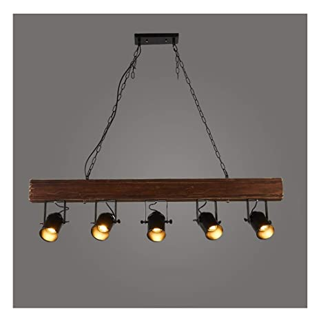 Pendant Light Candelabro de madera de bar nostálgico de ...