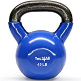 Cheap Yes4All Vinyl Coated Kettlebell Weights Set – Great for Full Body Workout and Strength Training – Vinyl Kettlebell 45 lbs