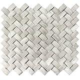 Wallandtile Mystic Cloud 3D Herringbone Marble Mosaic Tile