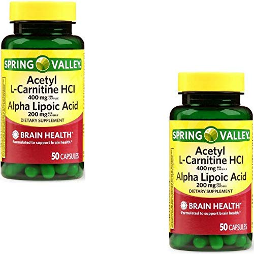 Spring Valley Acetyl L-Carnitine HCl Alpha Lipoic Acid Dietary Supplement Capsules, 50 Count (2 ()