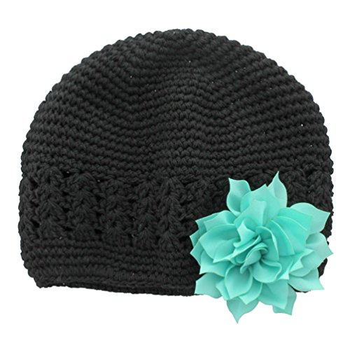 My Lello Infant Baby Girl's Crochet Beanie Hat with Flower Black/Aqua