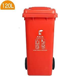 Alf Papelera de Exterior Bote de Basura Saneamiento Exterior Bote de Basura con polea Contenedores de Basura de jardín (Color : Red, Size : 120l): Amazon.es: Hogar