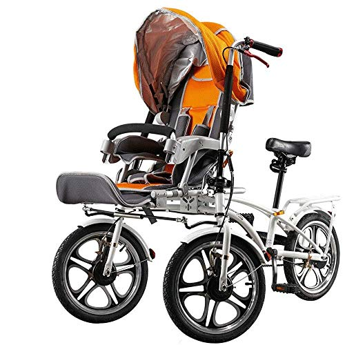 HZC Double Three-Wheeled Bicycle, Stroller Buggy Baby Child Pushchair, Foldable with Foot Switchable Bicycle, Pram Travel for Newborn and Toddler (Color : White)