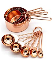 Copper Stainless Steel Measuring Cups and Spoons Set of 8 Engraved Measurements, Pouring Spouts & Mirror Polished for Baking and Cooking by KAISHANE