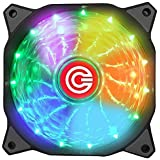 Circle 120mm 7 Colours Self Changing LED Silent Cabinet with Cooling Fan (Black)