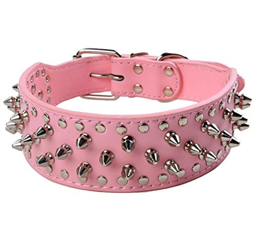 HOOT PU Leather Adjustable Spiked Studded Dog Collar 2