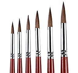 Round Pointed Tip Paint Brushes Red Sable (Weasel Hair) Hair Artists Filbert Paintbrushes,Watercolor Paint Brush Set Of 6 Acrylic Oil Painting Brush.