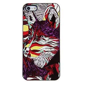 HC-Patrón de colores del lobo del estuche rígido para el iPhone 5/5S aluminoso