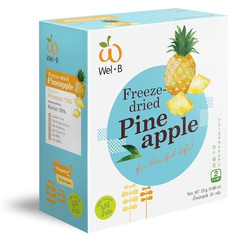 Wel-B Freeze-dried Pineapple, Freeze-dried Fruit Snack Unsweetened and 0% Fat, Real Healthy Snack 25g. by Pumkinhealthysnacks