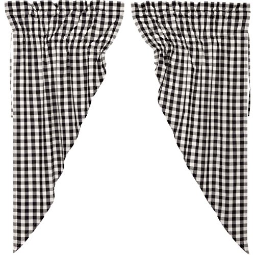VHC Brands Farmhouse Classic Country Curtains Annie Buffalo Check Lined Short Prairie Panel Pair, Black Review