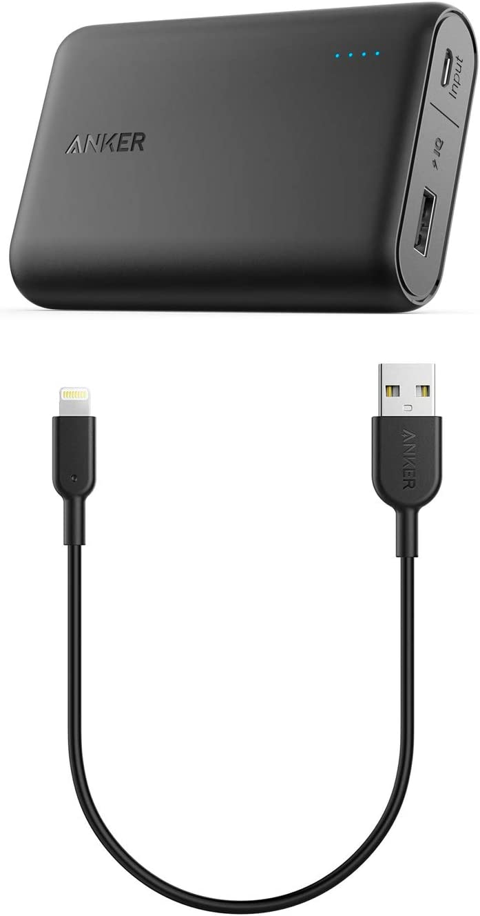 Anker Portable Charger Bundle for iPhone, 10,000mAh Portable Charger with 1ft USB A to Lightning Cable, for iPhone XR/X / 8/8 Plus / 7/7 Plus / 6/6 Plus, iPad Pro Air 2, and More (Black)