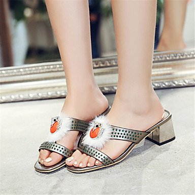 LvYuan Mujer-Tacón Stiletto-Innovador Zapatos del club-Sandalias-Boda Oficina y Trabajo Informal-Purpurina Materiales Personalizados-Negro Rojo Silver