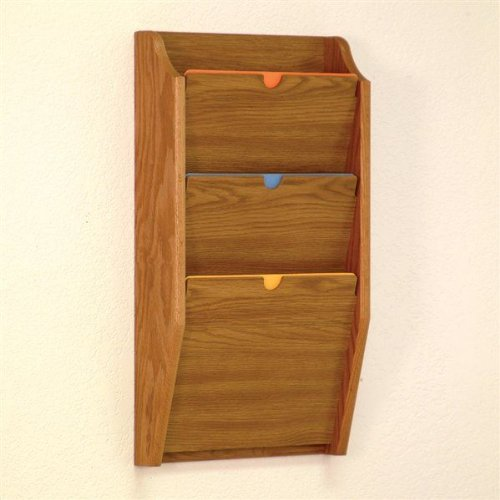 Wooden Mallet PCH24-3 Medium Oak 3-Pocket HIPAA Compliant Wall Mounted Privacy File/Chart Holder