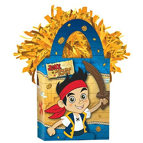 Amscan Disney Jake and The Neverland Pirates Mini Tote Party Balloon Weight, 5.7 oz, Blue/Gold]()
