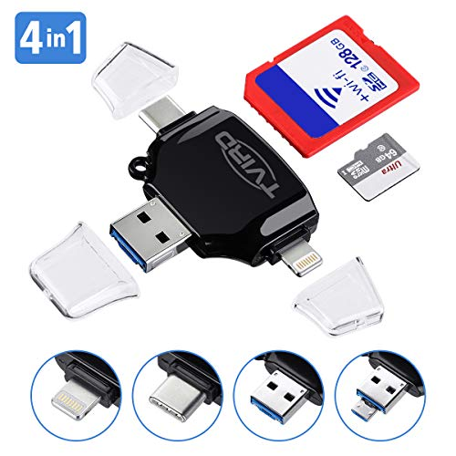 SD Card Reader, Tvird - 4 in 1 SD/TF Memory Card Reader USB 3.0, USB OTG Interface, Type-C, Lightning Connector, Micro SD Card Reader for iPhone/iPad/Android/MacBook/PC/Laptop, Trail Camera Viewer from Tvird