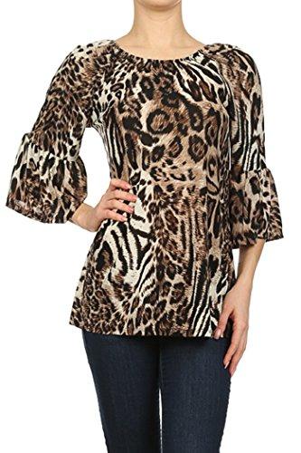 ColorMC Women's Plus Paisley Aztec Chevron Print Knit Tunic Sleeve Top 2XL Animal