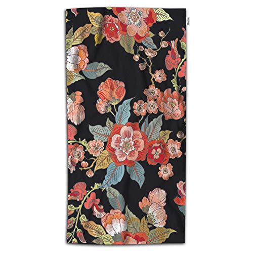 Moslion Floral Bath Towels 64Lx32W Inch Colorful Bright Magical Handmade Branch Elegant Nature Red Bath Hand Towel Decorative Bath Towels Soft Polyester-Microfiber for Bathroom (Floral Bath Towels)