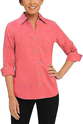 Foxcroft NYC - Camisa de Lino para Mujer (Manga 3/4)