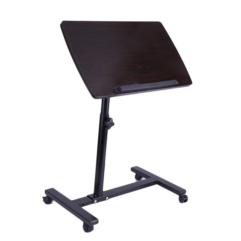 Homgrace overbed table,Adjustable Overbed Rolling Overbed Table , Over Bed Laptop Food Tray Hospital Desk,Black walnut color
