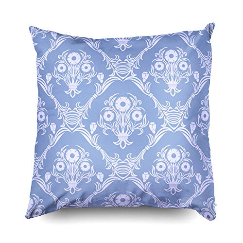 (Shorping Nap Pillow Case for Couch, Zippered Pillowcases 16x16 Inch Throw Pillow Covers Damask Seamless Retro Wallpaper Ornament with Bouquet of Flowers for Home Décor)