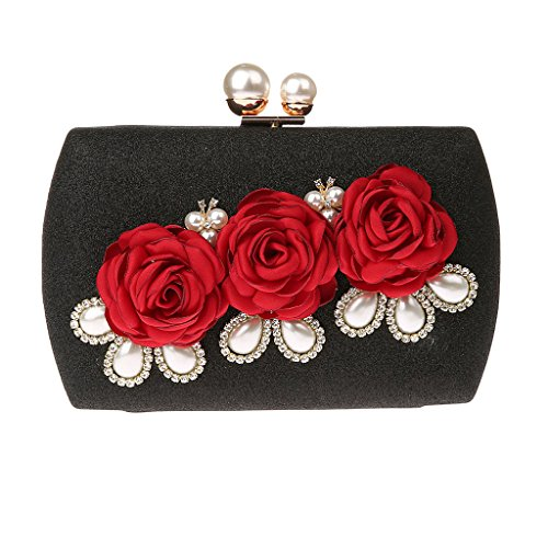 Pearl Clutch described Fenteer Bag Evening Party as Wedding Handbag Black Ladies Champagne Flower Crossbody Purse wFq77xEI