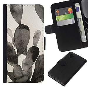 For LG Nexus 5 D820 D821 Case , Painting Black White Watercolor - la tarjeta de Crédito Slots PU Funda de cuero Monedero caso cubierta de piel