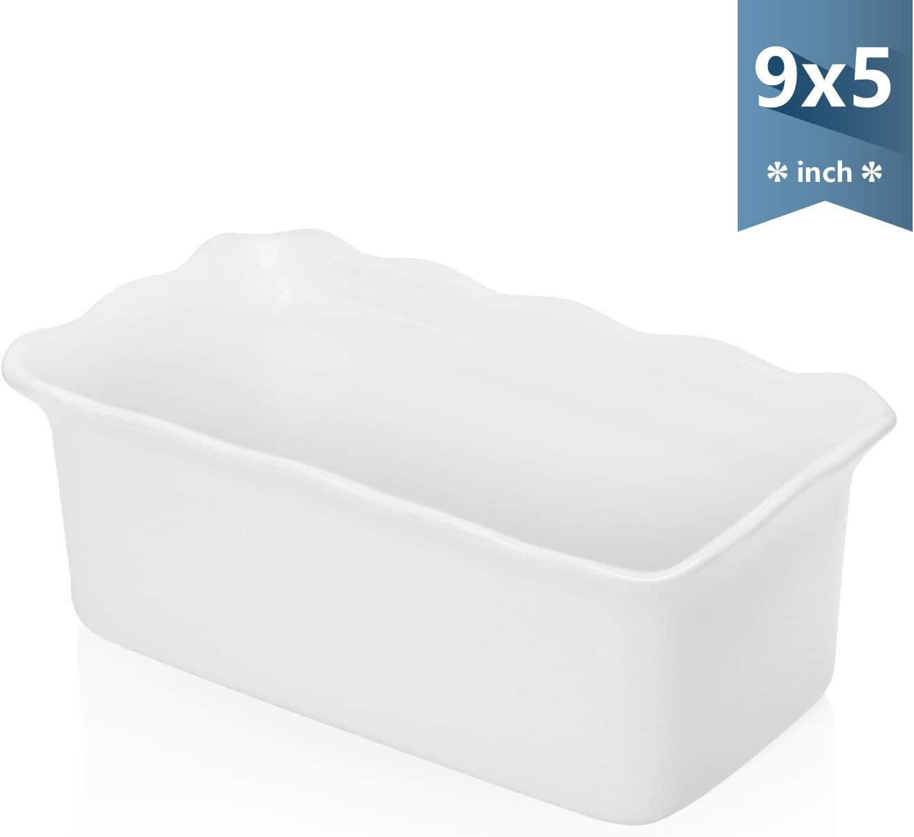 Sweese 519.101 Porcelain loaf pan for Baking, Non-Stick Bread Pan Cake Pan, Perfect for Bread and Meat, 9 x 5 inches - White